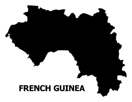 Carte vectorielle de la Guinée française avec légende. La carte de la Guinée française est isolée sur fond blanc. Carte géographique simple et plate.
