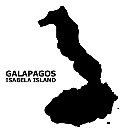 Vector Map of Galapagos - Isabela Island with caption. Map of Galapagos - Isabela Island is isolated on a white background. Simple flat geographic map.