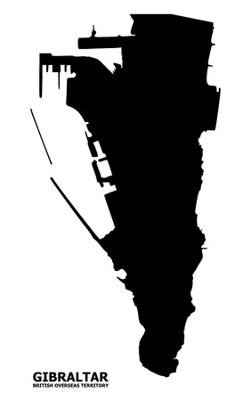 Vector Map of Gibraltar with title. Map of Gibraltar is isolated on a white background. Simple flat geographic map.