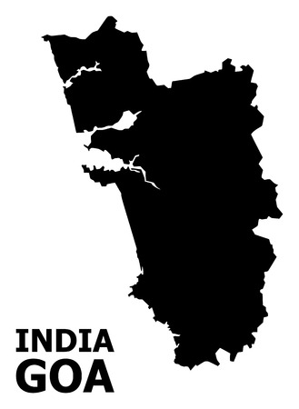 Vector Map of Goa State with caption. Map of Goa State is isolated on a white background. Simple flat geographic map.