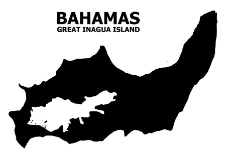 Vector Map of Great Inagua Island with title. Map of Great Inagua Island is isolated on a white background. Simple flat geographic map. Illustration