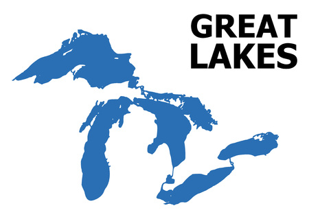 Vector Map of Great Lakes with title. Map of Great Lakes is isolated on a white background. Simple flat geographic map.