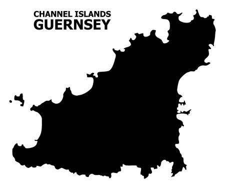 Vector Map of Guernsey Island with name. Map of Guernsey Island is isolated on a white background. Simple flat geographic map.