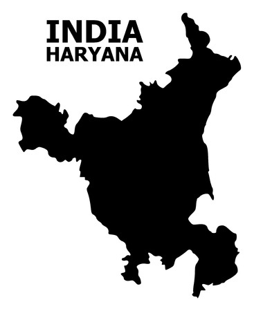 Vector Map of Haryana State with name. Map of Haryana State is isolated on a white background. Simple flat geographic map. Illustration