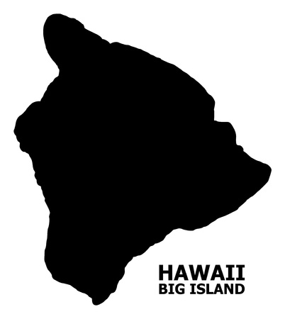 Vector Map of Hawaii Big Island with name. Map of Hawaii Big Island is isolated on a white background. Simple flat geographic map.