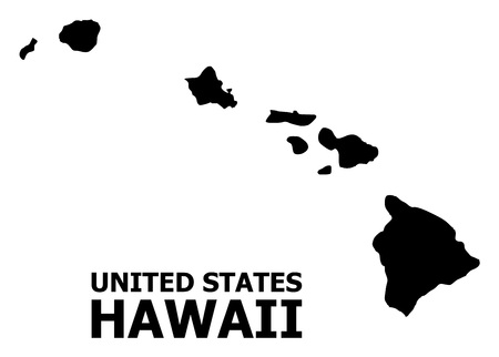 Vector Map of Hawaii State with title. Map of Hawaii State is isolated on a white background. Simple flat geographic map. Çizim