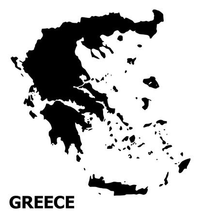 Vector Map of Greece with title. Map of Greece is isolated on a white background. Simple flat geographic map.