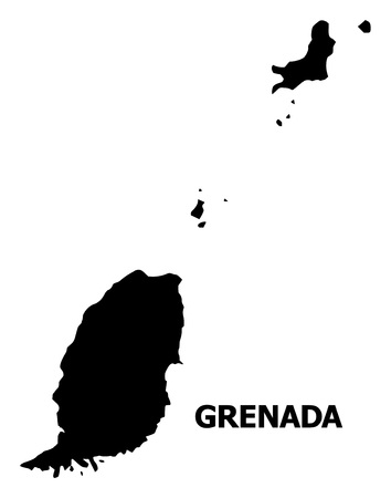 Vector Map of Grenada Islands with caption. Map of Grenada Islands is isolated on a white background. Simple flat geographic map. Illustration