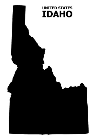 Vector Map of Idaho State with name. Map of Idaho State is isolated on a white background. Simple flat geographic map.
