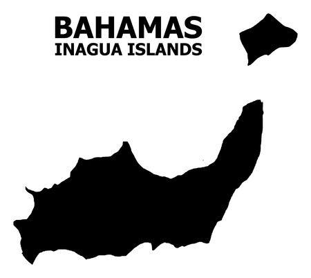 Vector Map of Inagua Islands with caption. Map of Inagua Islands is isolated on a white background. Simple flat geographic map. Illustration