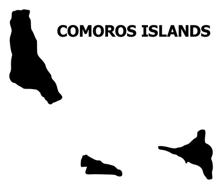 Vector Map of Comoros Islands with title. Map of Comoros Islands is isolated on a white background. Simple flat geographic map.