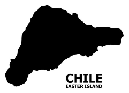Vector Map of Easter Island with caption. Map of Easter Island is isolated on a white background. Simple flat geographic map.
