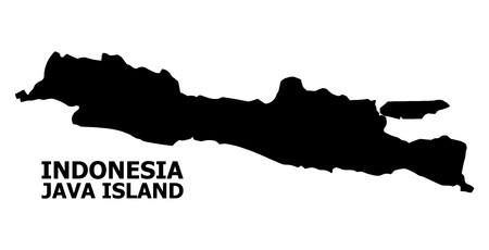 Vector Map of Java Island with title. Map of Java Island is isolated on a white background. Simple flat geographic map.