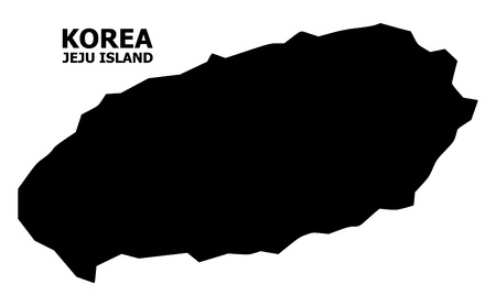 Vector Map of Jeju Island with caption. Map of Jeju Island is isolated on a white background. Simple flat geographic map. Illustration