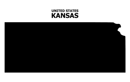 Vector Map of Kansas State with name. Map of Kansas State is isolated on a white background. Simple flat geographic map.