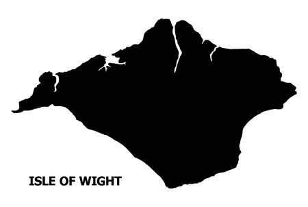 Vector Map of Isle of Wight with name. Map of Isle of Wight is isolated on a white background. Simple flat geographic map.