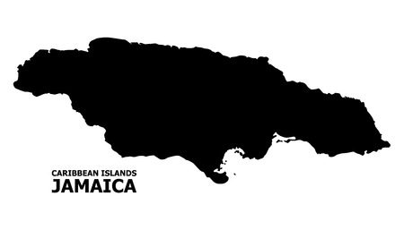 Vector Map of Jamaica with title. Map of Jamaica is isolated on a white background. Simple flat geographic map.
