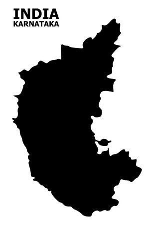 Vector Map of Karnataka State with caption. Map of Karnataka State is isolated on a white background. Simple flat geographic map.