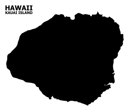 Vector Map of Kauai Island with caption. Map of Kauai Island is isolated on a white background. Simple flat geographic map. Illustration