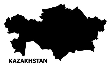 Vector Map of Kazakhstan with name. Map of Kazakhstan is isolated on a white background. Simple flat geographic map.