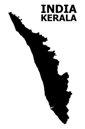 Mapa de vectores del estado de Kerala con título. Mapa del estado de Kerala está aislado en un fondo blanco. Mapa geográfico plano simple.