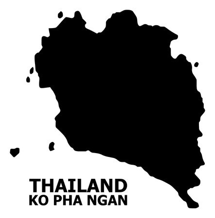 Vector Map of Ko Pha Ngan with name. Map of Ko Pha Ngan is isolated on a white background. Simple flat geographic map.