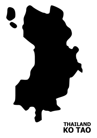 Vector Map of Ko Tao with name. Map of Ko Tao is isolated on a white background. Simple flat geographic map.