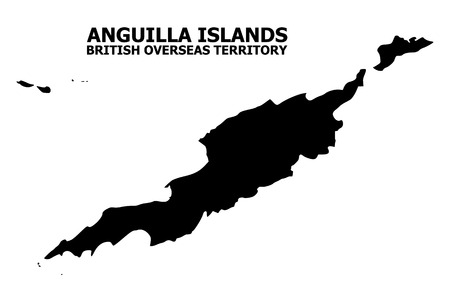 Vector Map of Anguilla Islands with name. Map of Anguilla Islands is isolated on a white background. Simple flat geographic map. Çizim