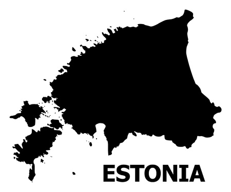 Vector Map of Estonia with name. Map of Estonia is isolated on a white background. Simple flat geographic map.