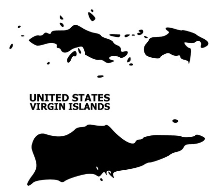 Vector Map of American Virgin Islands with name. Map of American Virgin Islands is isolated on a white background. Simple flat geographic map. Illustration