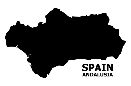 Vector Map of Andalusia Province with name. Map of Andalusia Province is isolated on a white background. Simple flat geographic map. Ilustração