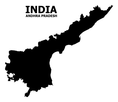 Vector Map of Andhra Pradesh State with name. Map of Andhra Pradesh State is isolated on a white background. Simple flat geographic map.