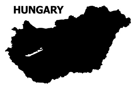 Vector Map of Hungary with name. Map of Hungary is isolated on a white background. Simple flat geographic map.