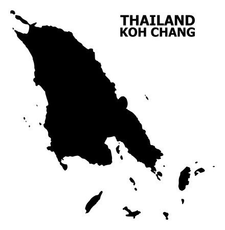 Vector Map of Koh Chang with caption. Map of Koh Chang is isolated on a white background. Simple flat geographic map. Illustration