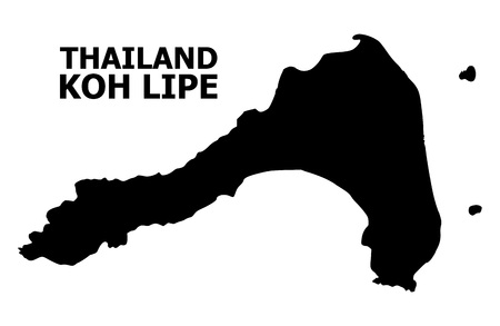 Vector Map of Koh Lipe with name. Map of Koh Lipe is isolated on a white background. Simple flat geographic map.