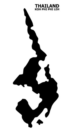 Vector Map of Koh Phi Leh with name. Map of Koh Phi Leh is isolated on a white background. Simple flat geographic map.