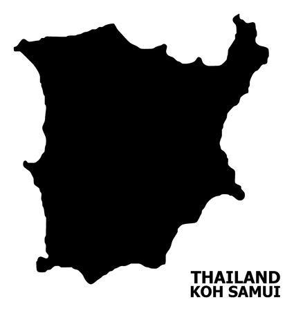 Vector Map of Koh Samui with name. Map of Koh Samui is isolated on a white background. Simple flat geographic map. Illustration