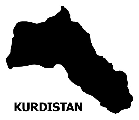 Vector Map of Kurdistan with name. Map of Kurdistan is isolated on a white background. Simple flat geographic map. Çizim