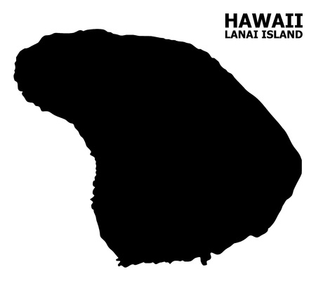 Vector Map of Lanai Island with name. Map of Lanai Island is isolated on a white background. Simple flat geographic map.