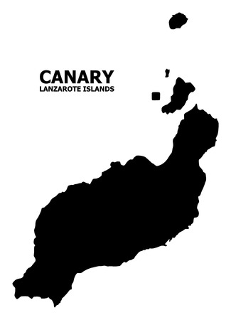 Vector Map of Lanzarote Islands with title. Map of Lanzarote Islands is isolated on a white background. Simple flat geographic map.
