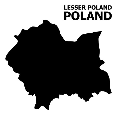 Vector Map of Lesser Poland Province with name. Map of Lesser Poland Province is isolated on a white background. Simple flat geographic map. Vetores
