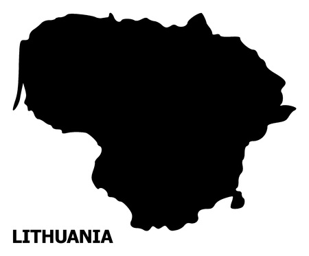 Vector Map of Lithuania with name. Map of Lithuania is isolated on a white background. Simple flat geographic map.