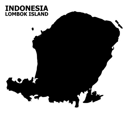Vector Map of Lombok Island with caption. Map of Lombok Island is isolated on a white background. Simple flat geographic map.