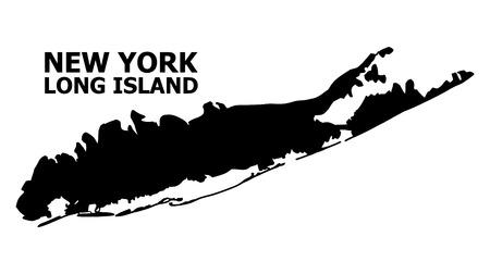 Mapa de vectores de Long Island con título. Mapa de Long Island está aislado en un fondo blanco. Mapa geográfico plano simple.