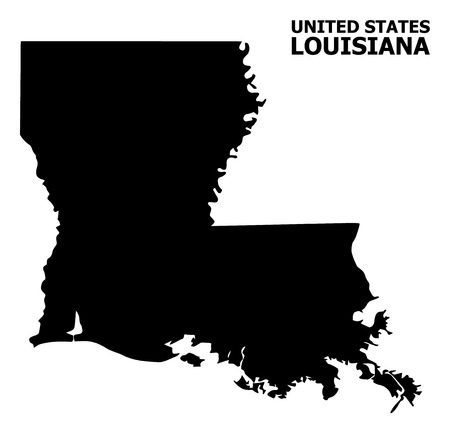 Vector Map of Louisiana State with caption. Map of Louisiana State is isolated on a white background. Simple flat geographic map.