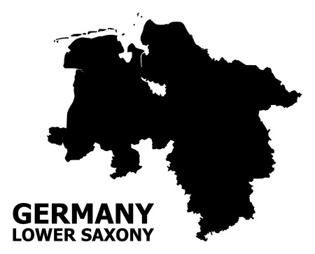 Vector Map of Lower Saxony State with name. Map of Lower Saxony State is isolated on a white background. Simple flat geographic map. Standard-Bild - 120431611