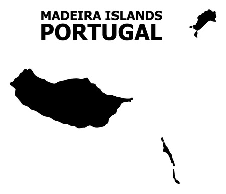 Vector Map of Madeira Islands with title. Map of Madeira Islands is isolated on a white background. Simple flat geographic map. Çizim