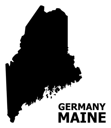 Vector Map of Maine State with name. Map of Maine State is isolated on a white background. Simple flat geographic map.
