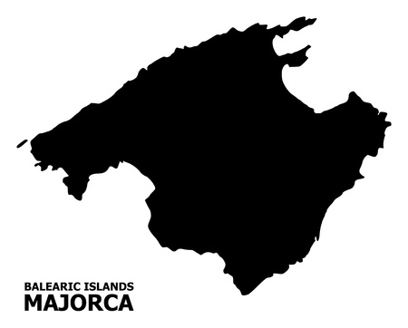 Vector Map of Majorca with name. Map of Majorca is isolated on a white background. Simple flat geographic map.