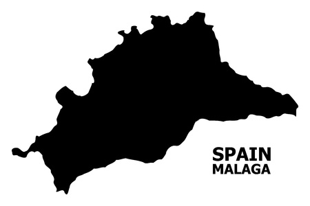 Vector Map of Malaga Province with name. Map of Malaga Province is isolated on a white background. Simple flat geographic map.